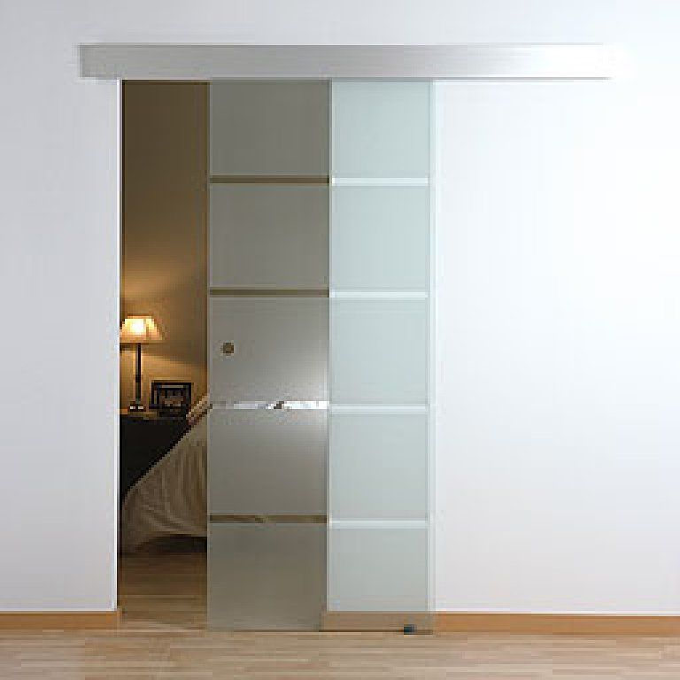 puerta corredera de vidrio con franjas transl cidas