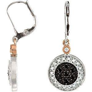1/3 ct tw Black & White Diamond Leverback Earrings