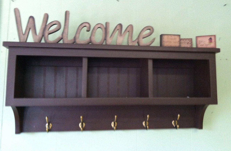 Entryway Storage Wall Shelf With Coat Hooks Hallway Coat Rack Etsy In 2020 Entryway Storage Wall Shelves Hallway Coat Rack
