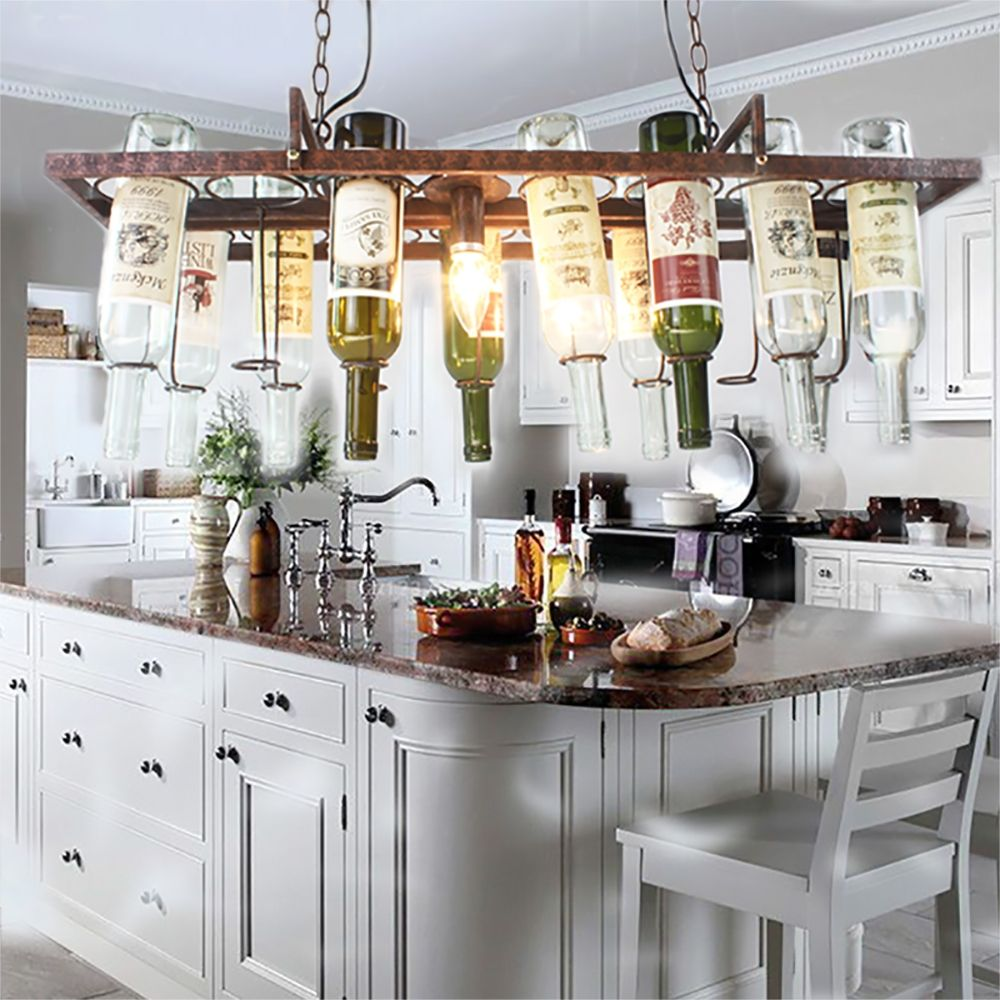 DIY Vintage Retro Hanging Wine Bottle Ceiling Pendant Lamps LED - Led light bar for kitchen ceiling