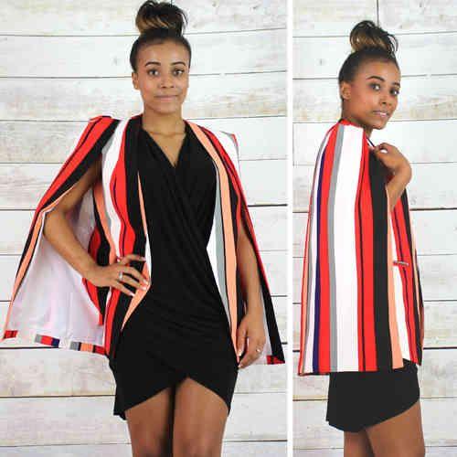 NEW Lavish Alice Red Multi Stripe Lindsay Lohan Collarless ...