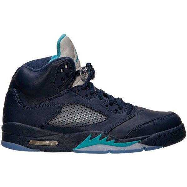 brand new c5886 b55d3 Air Jordan 5 Retro Midnight Navy Turquoise Blue-White ❤ liked on Polyvore  featuring