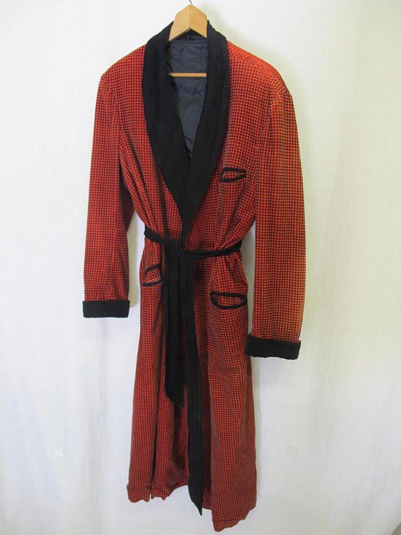 Terrycloth Robe Kimono Bath Robe 1980 Checked Robe One Size QJUhz7kC