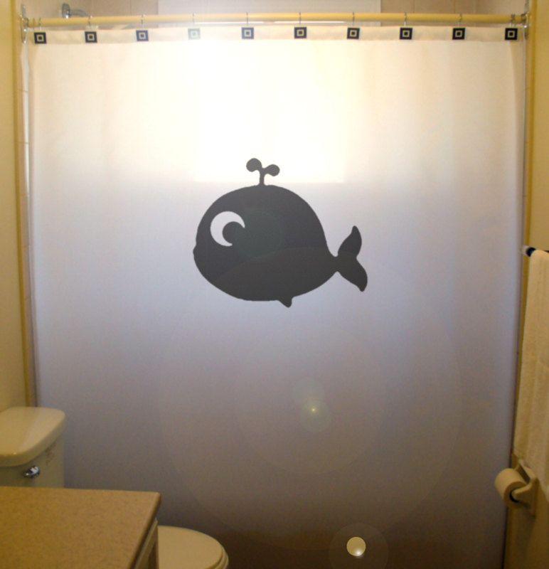Cute Baby Whale Shower Curtain Kids Bathroom Decor Bath Cartoon Children Gift Design Animal Classic Simple