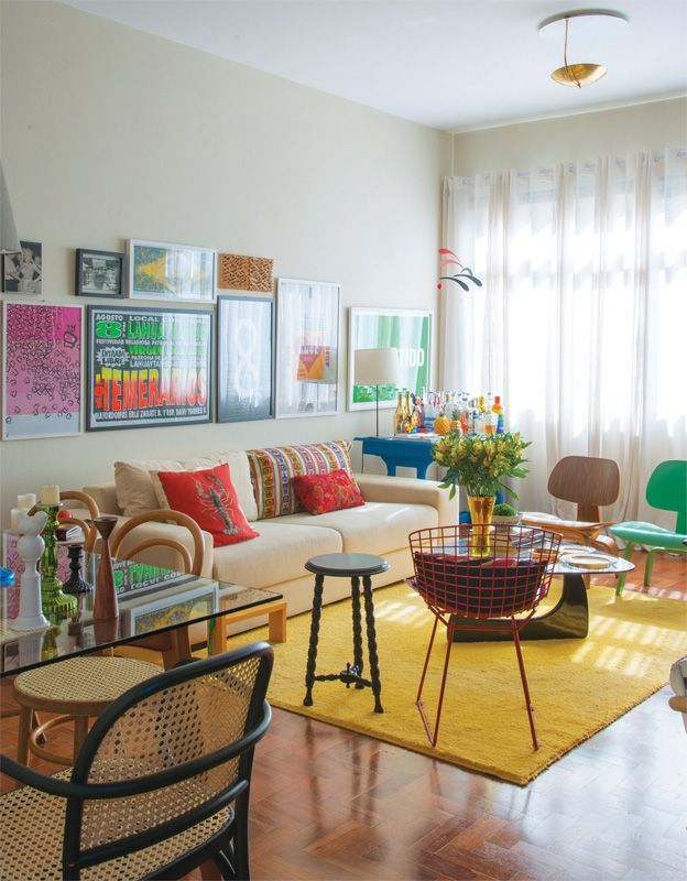 Plain Bright Yellow Area Rug In Colorful Living Room