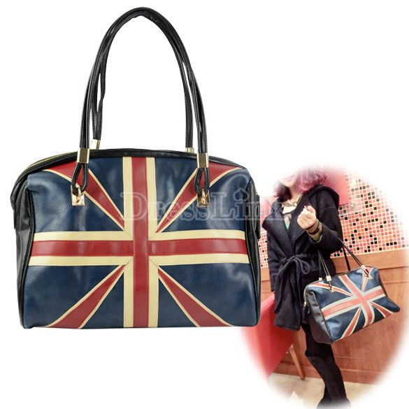 Women's Synthetic Leather England Flag Pattern Pattern Handbag Shoulder Bag Purse Tote