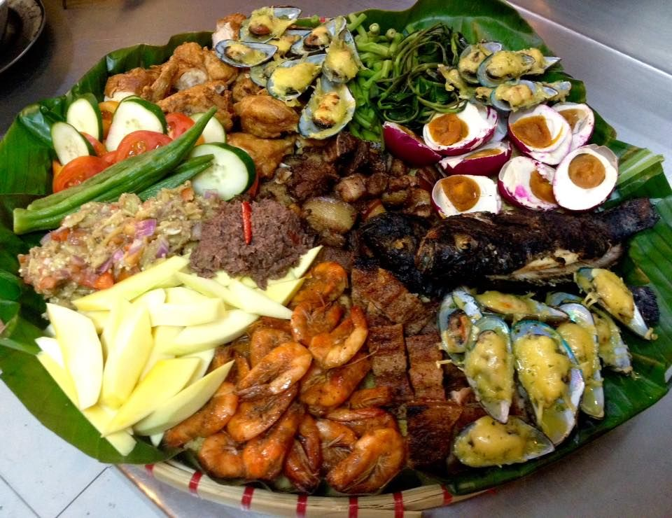 bilao platter anatto rice baked mussels grilled liempo
