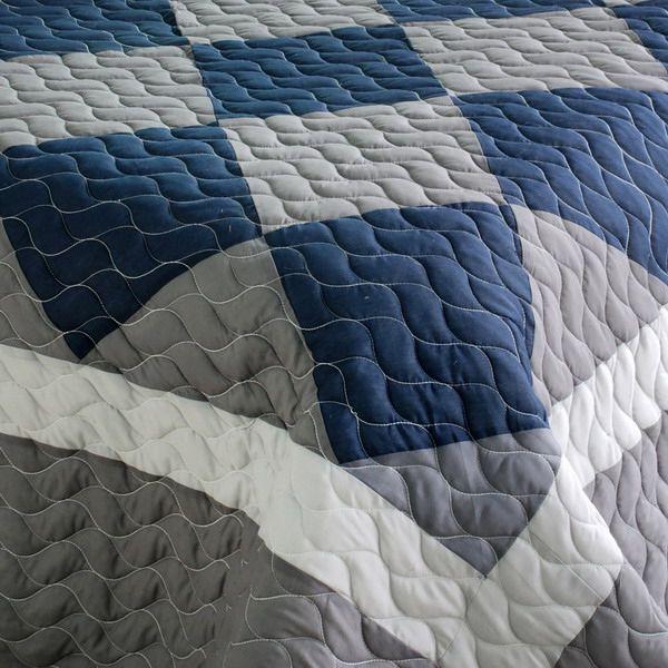 navy and gray comforter | Navy Blue & Grey Colorblock Teen Boy ... : blue gray quilt - Adamdwight.com