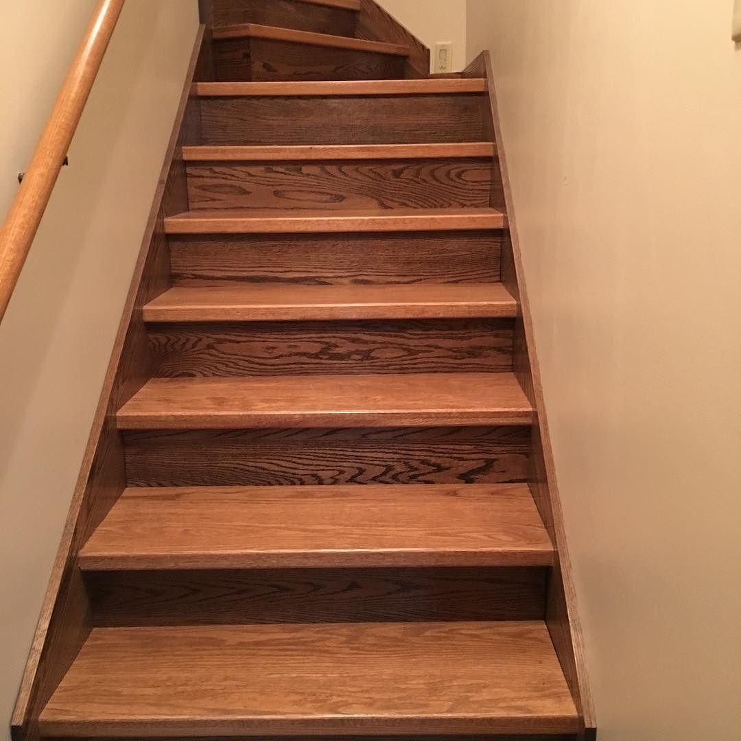 Custom oak stairs #entertainmentcenter #kitchencabinets #hardwood #classicwood #customwoodworking #lnk via ClassicWoodLincoln.com