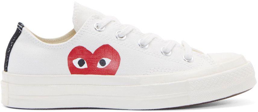 Comme des Garçons Play White Heart Logo Converse Edition ...