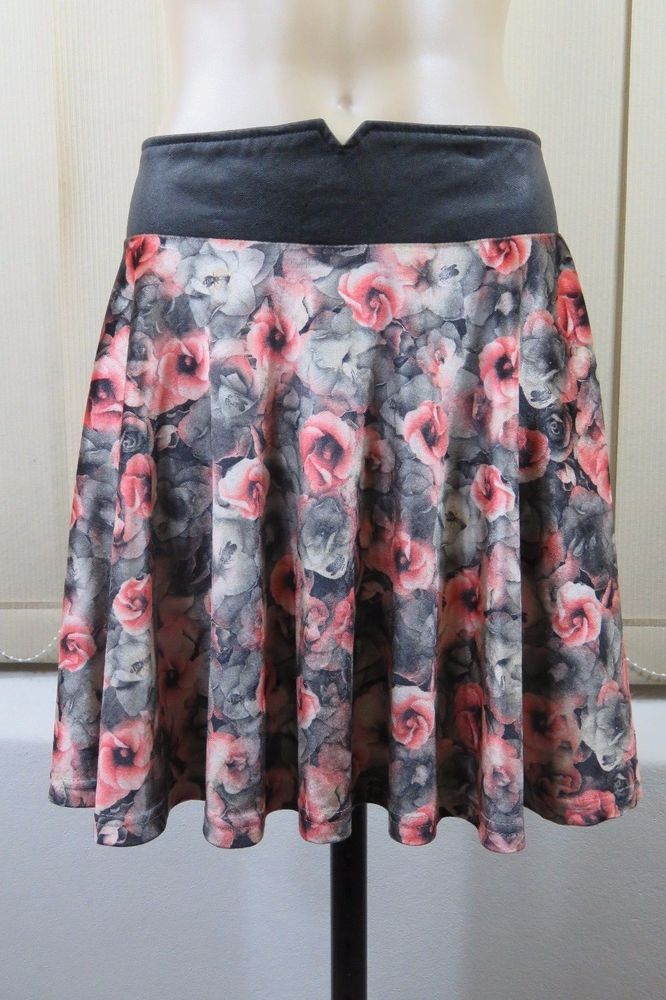 Size S 10 Ladies Skater Skirt Velvet Vintage Floral Retro Casual Grunge Design    eBay
