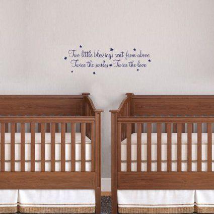 wall art vinyl decal sticker babies twice the fun Twins nursery footprints