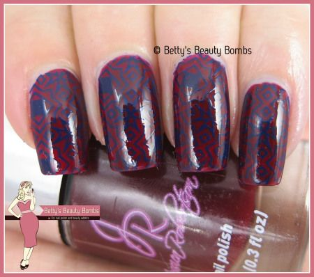http://www.bettysbeautybombs.com/2015/04/25/blue-on-red-stamping/ / Dark stamping