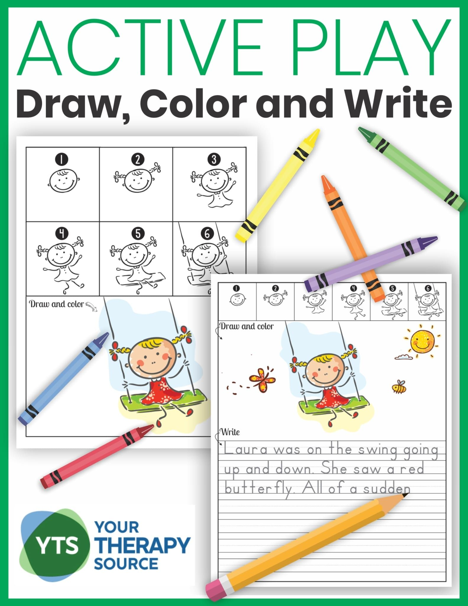 Directed Drawings Draw Color And Write Active Play Theme Your Therapy Source Play Activities Writing Activities Preschool Learning