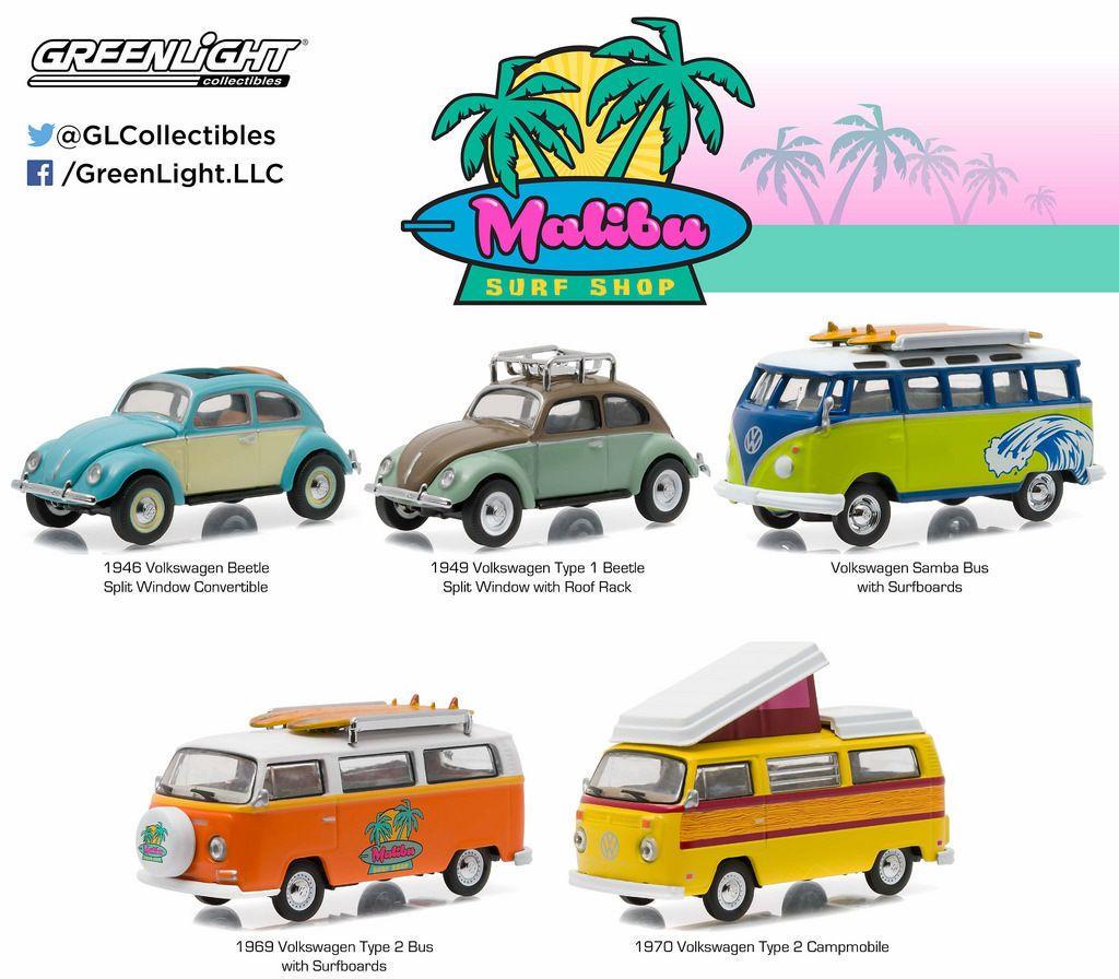 Diecast Auto World - Greenlight 1/64 5 PC Motor World Diorama Malibu Surf VW Volkswagen 58028, $19.99 (http://stores.diecastautoworld.com/products/greenlight-1-64-5-pc-motor-world-diorama-malibu-surf-vw-volkswagen-58028.html)