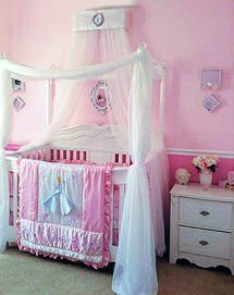 Custom baby girl Disney princess crib canopy and netting on a four ...