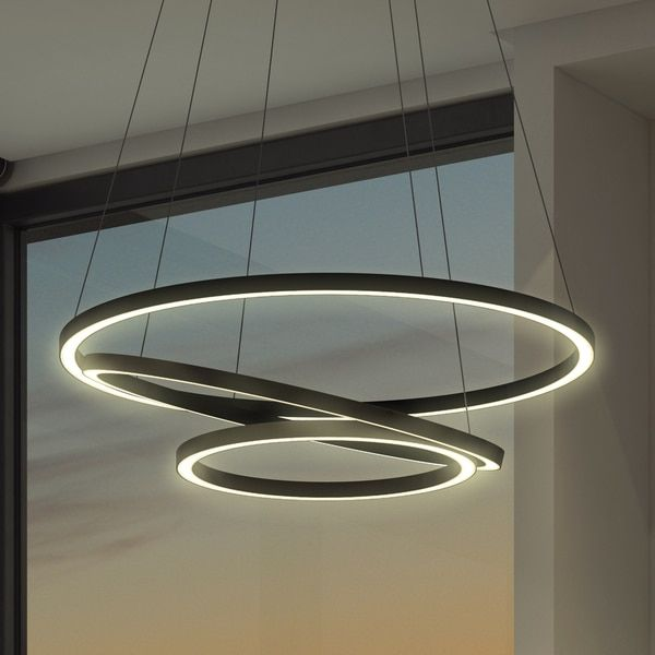Vonn lighting vmc32500bl tania trio 32 inches led adjustable hanging light modern black circular chandelier