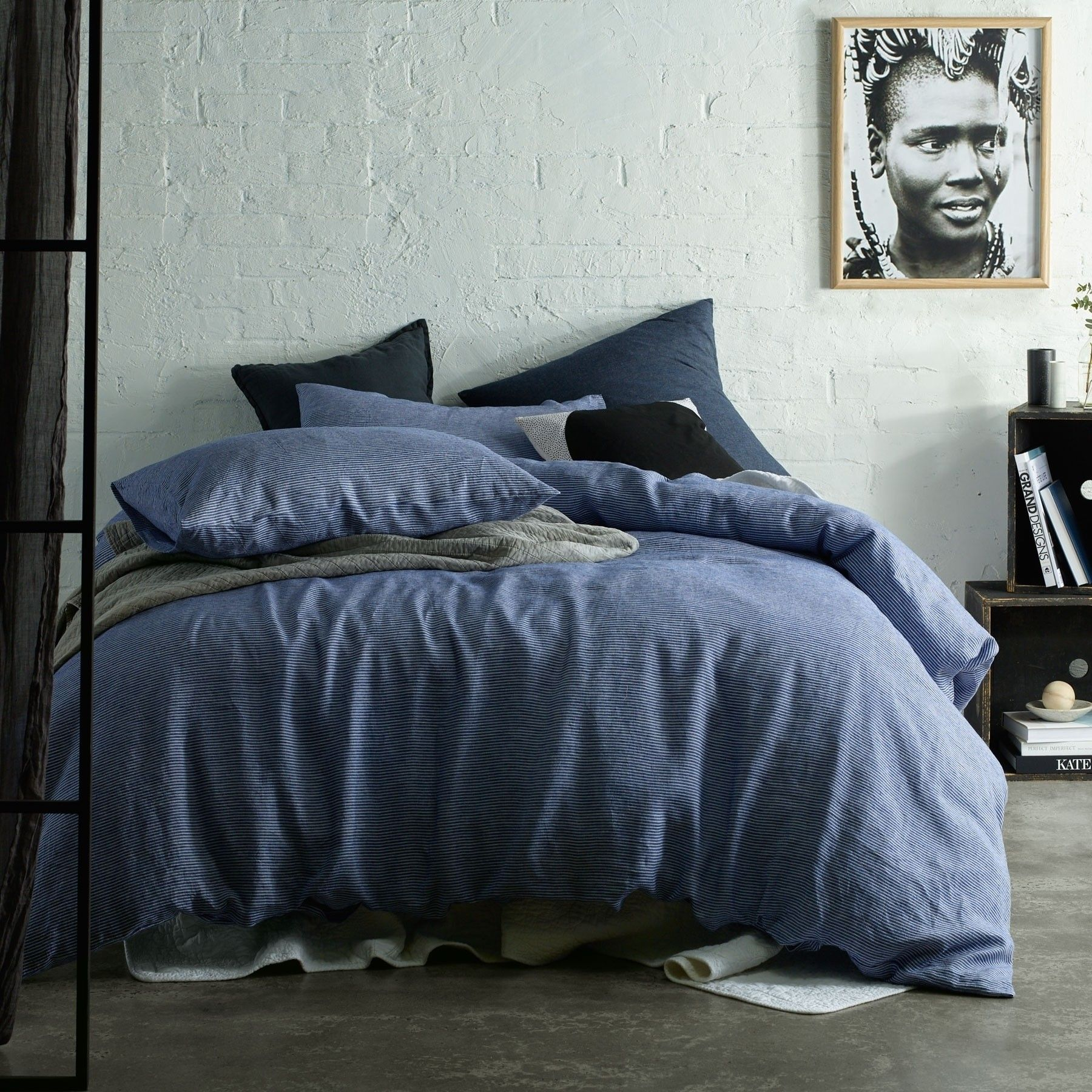 Yarn Dye 100 Linen Quilt Cover Set Stripe Blue By Accessorize Quilt Cover Sets Quilt Cover Linen Quilt