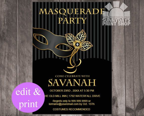 Masquerade Invitation Masquerade Party Birthday Party INSTANT