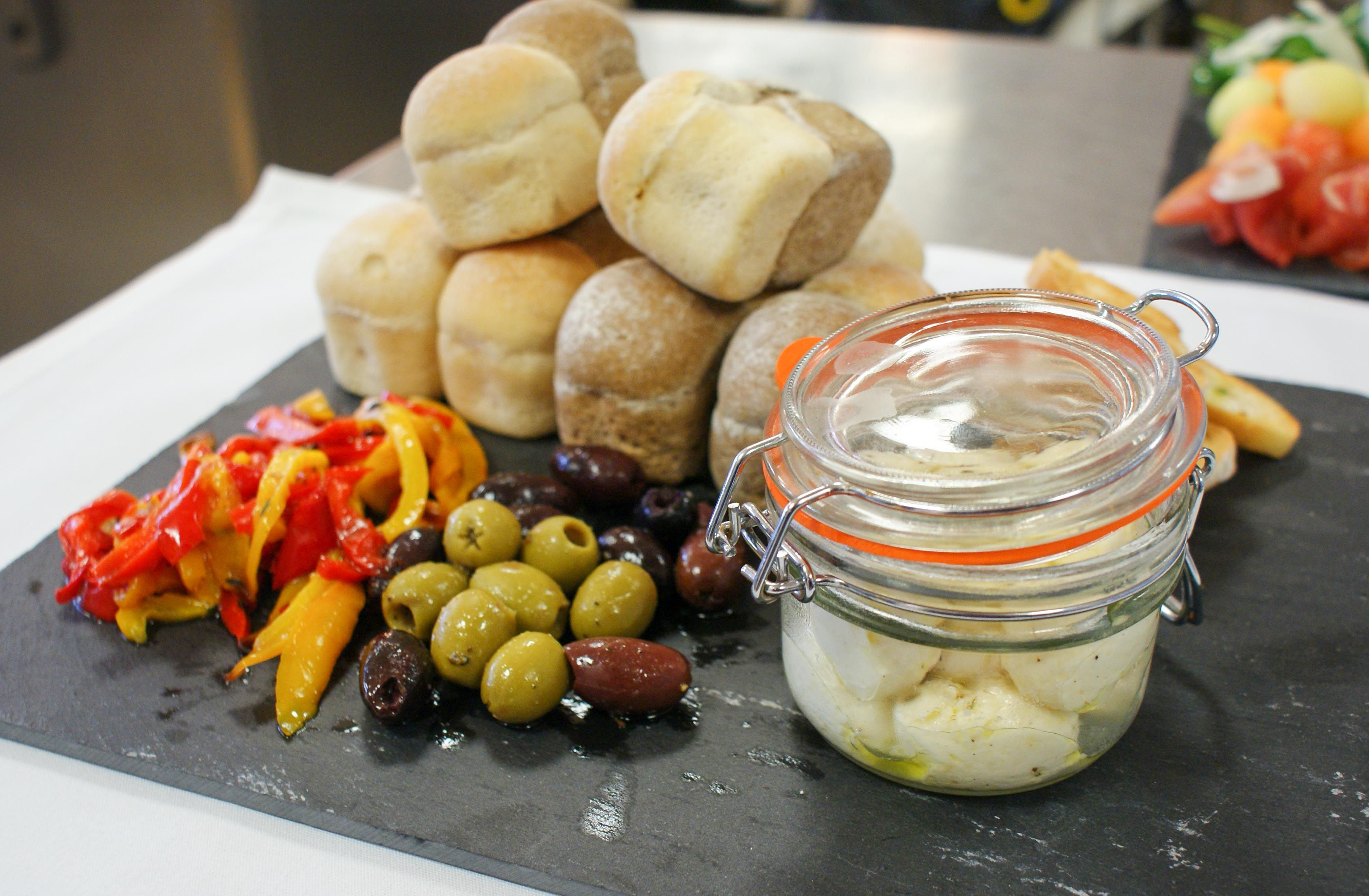 Starter: Baby Mozzarella balls, Roasted Red Peppers, Mixed Olives, Toasted Bruscetta Croutes