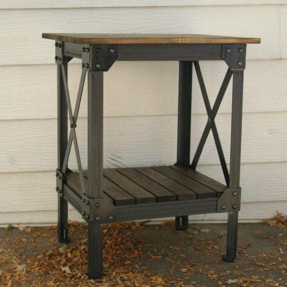 handmade scrap metal and wood table end table von jrealfurniture holz metall pinterest. Black Bedroom Furniture Sets. Home Design Ideas