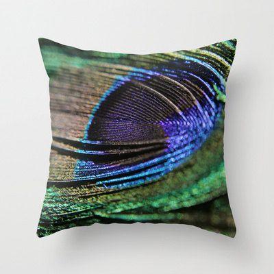 Decorative Pillow Cover Pea Feather Emerald Green Monaco Cobalt Blue Bird Photo Case Home Bedroom Decor