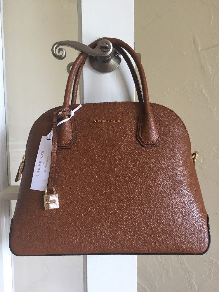 Michael Kors Studio Mercer Large Dome Satchel Luggage Brown Leather   MichaelKors  Satchel 7dd600134ed6b