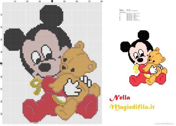 Mickey Mouse bébé avec ours en peluche   Modele brodat punct cruce ...