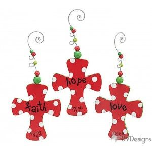 Hand painted wooden cross ornaments. Christmas ornaments, Christmas tree ornaments, Christmas gifts