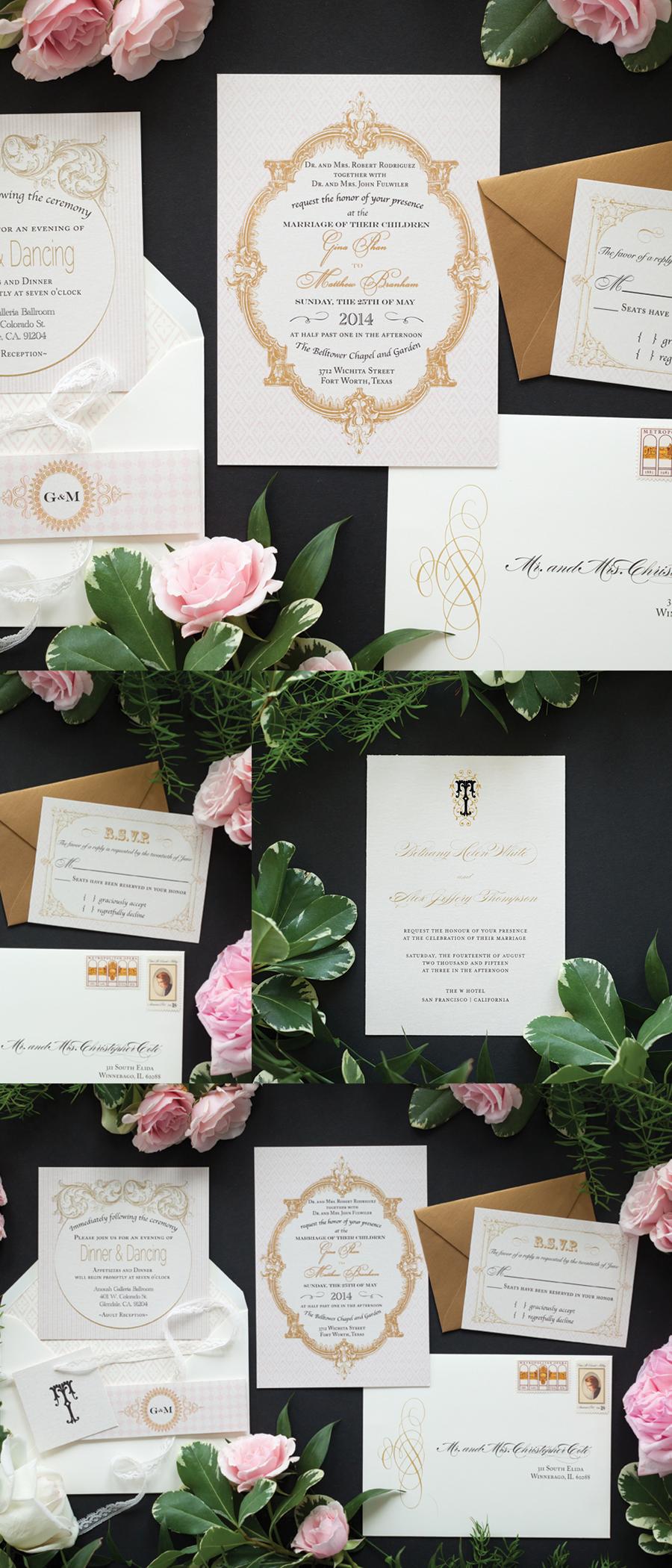 Great Custom French Baroque Wedding Invitation Colors