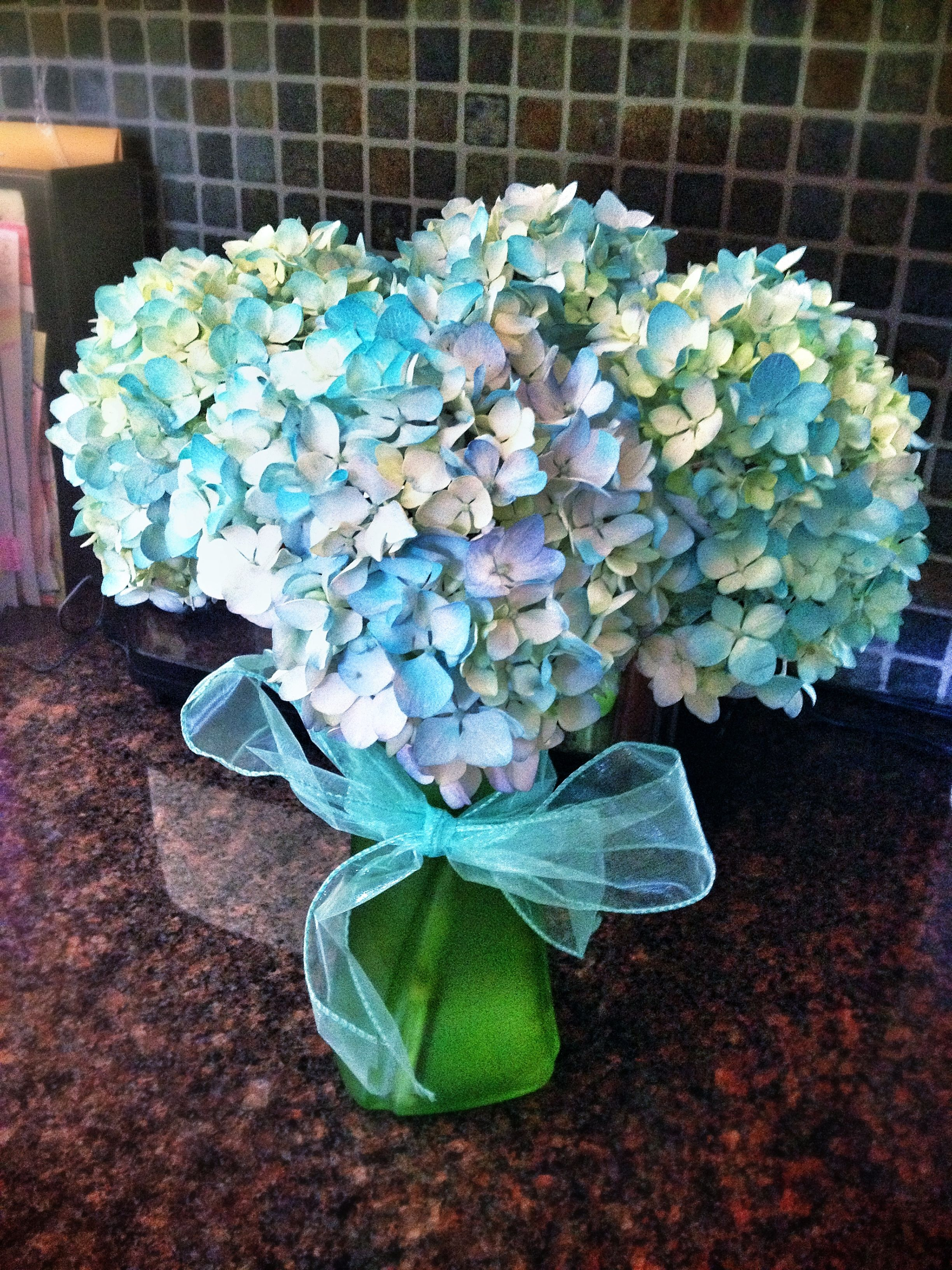 Light blue & white hydrangeas spray painted a Tiffany blue ...