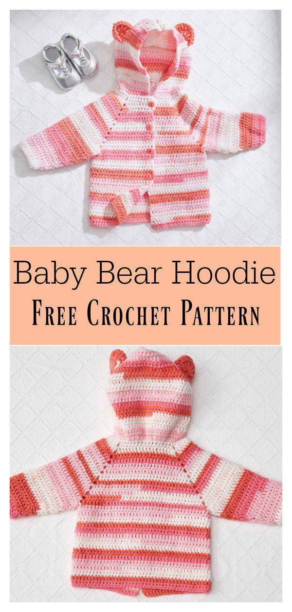 Baby Bear Hoodie Sweater Free Crochet Pattern | Pinterest | Bebe