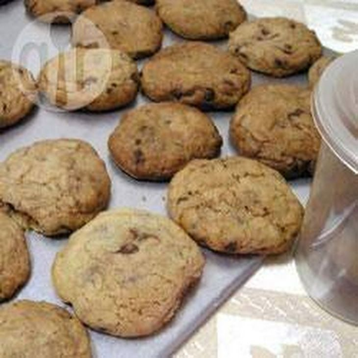 Best Ever Chewy Chocolate Chip Cookies Recipe Desserts with butter, sugar, eggs, plain flour, baking powder, bicarbonate of soda, chocolate chips