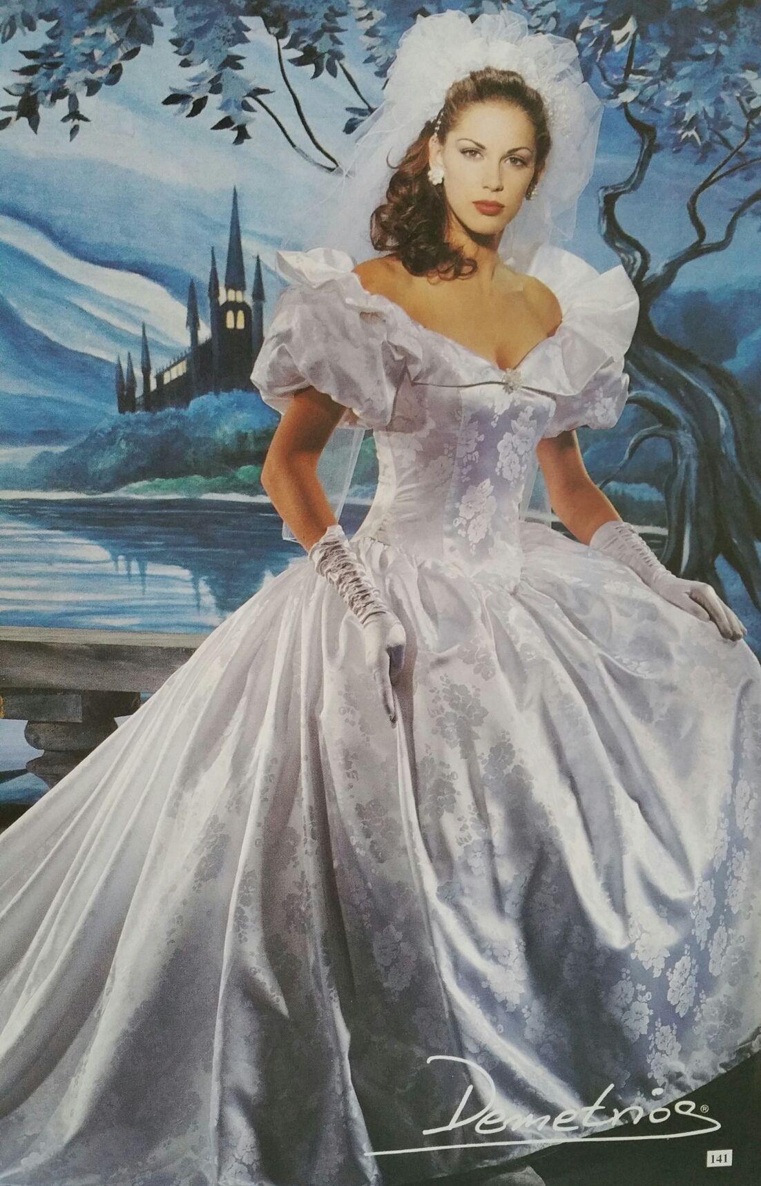 Demetrios 1990/1991 Jaquard Satin dress   Demetrios 90\'s collections ...