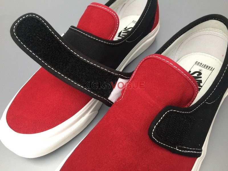 d441791cd3d Fear of God x Vans Slip-On 47 V DX FOG Red Black Suede
