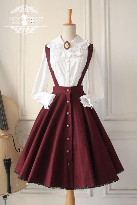 688e6d65e4e9bd Miss Point Gothic Vintage Lolita Salopette in 2019 | Outfits ...