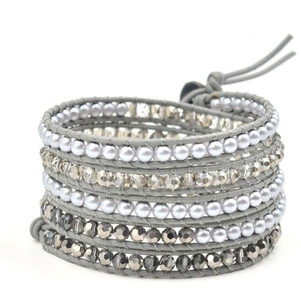 Gray Pearl and Crystal Wrap Bracelet (£22) ❤ liked on Polyvore featuring jewelry, bracelets, crystal jewelry, polish jewelry, bead jewellery, beaded jewelry and pearl bangles