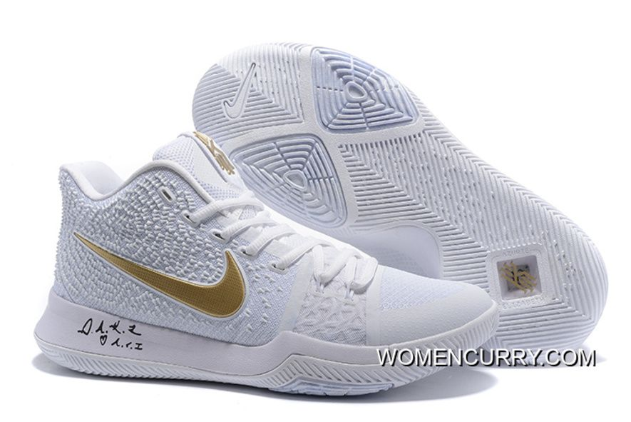 "online store edae0 afd31 ""White Ice"" Nike Kyrie 3 WhiteGold Mens Basketball Shoe New Release,  Price 88.79 - Women Stephen Curry Shoes Online"