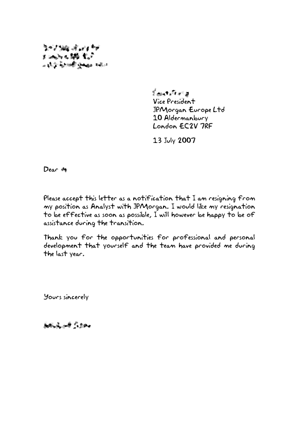 example letter of resignation professional