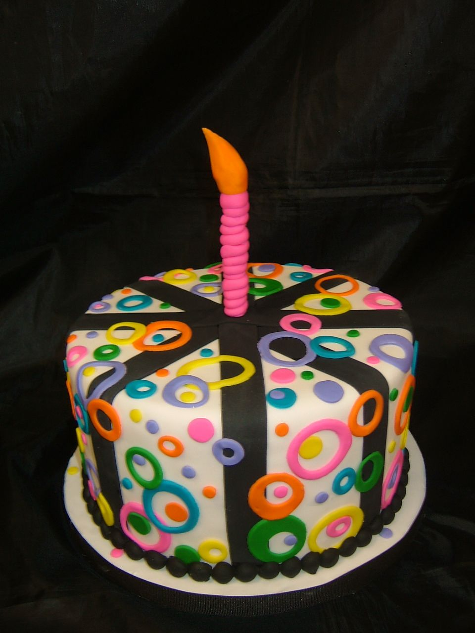 Fun Funky Birthday Cake With Fondant Candle