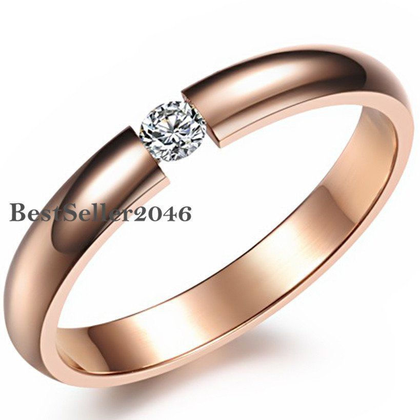 Elegant Rose Gold CZ Titanium Steel Ring Men//Womens Stainless Wedding Band 6-10