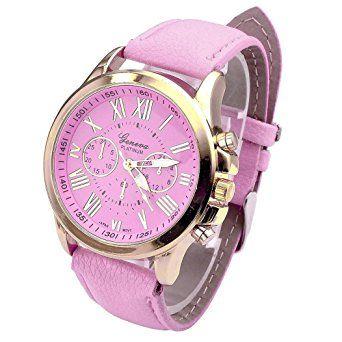 Hemlock Fashional Round Roman Numerals Women's Watch Pink PU Leather Band Gold Watches: Watches