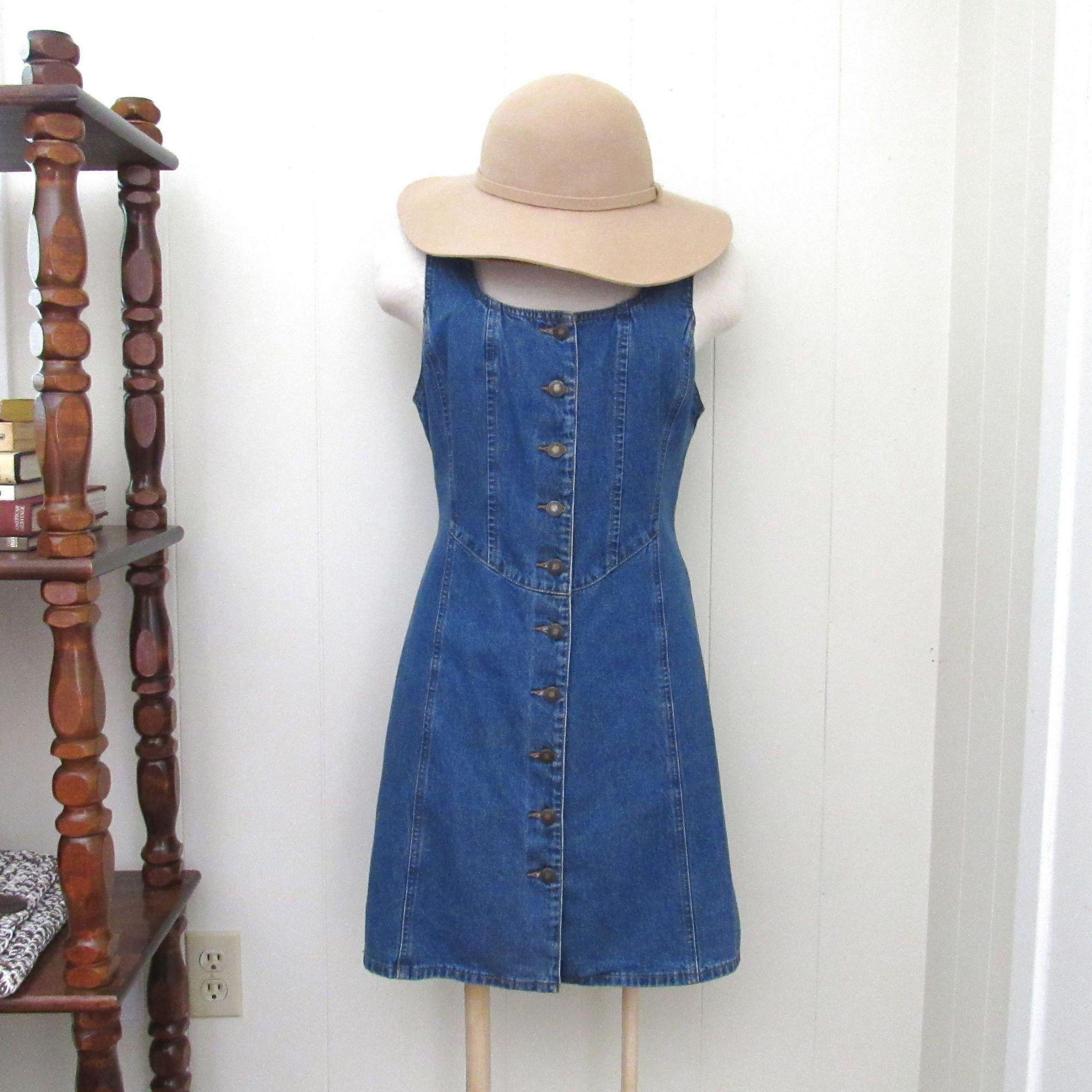 Vintage Denim Dress 90s Jean Dress Button Up Sun Dress Etsy Vintage Denim Dress Vintage Denim Jeans Dress