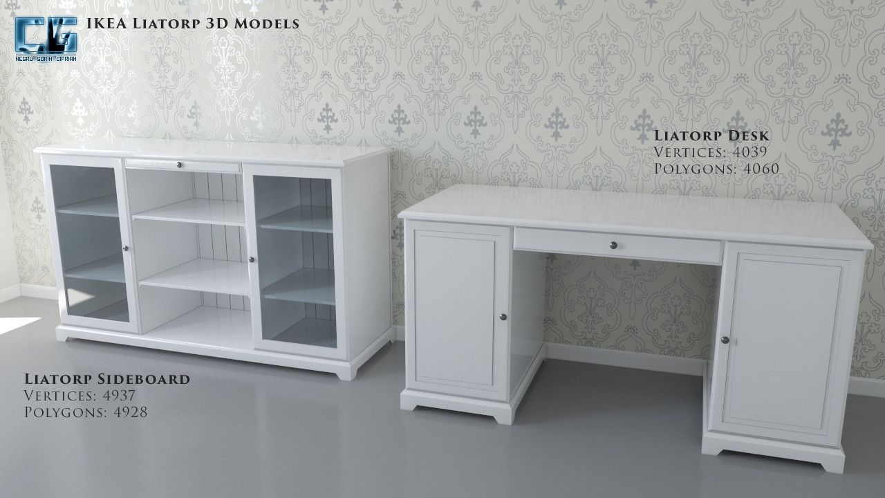 Credenza Liatorp Ikea : Liatorp desk sideboard and bookcase with glassdoors for home