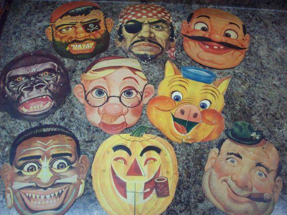 Cardboard Masks To Decorate This Lot Of 9 Vintage Cardboard Halloween Masks Were A Recent Find