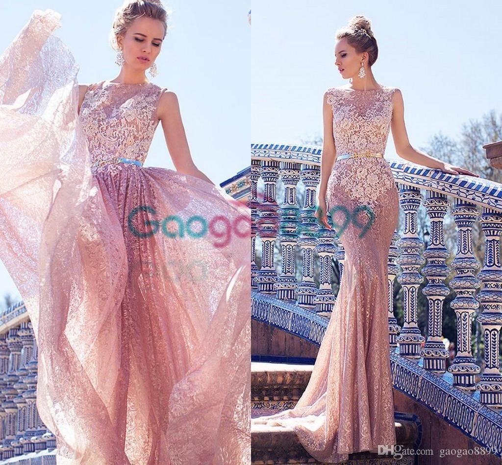 Oksana Mukha Vintage Blush Pink Lace Beach Wedding Dresses with ...