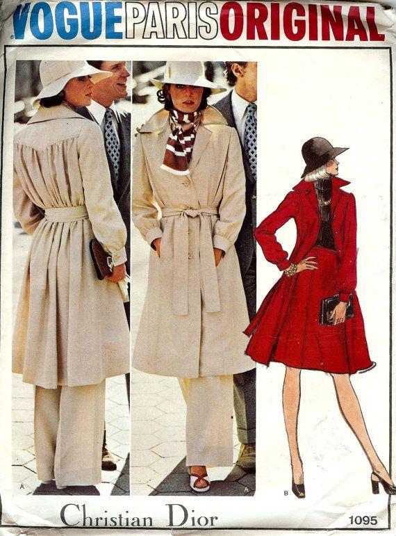 PATTERN Vogue 1095 Size 10 Coat Pants Skirt Christian Dior Vogue ...