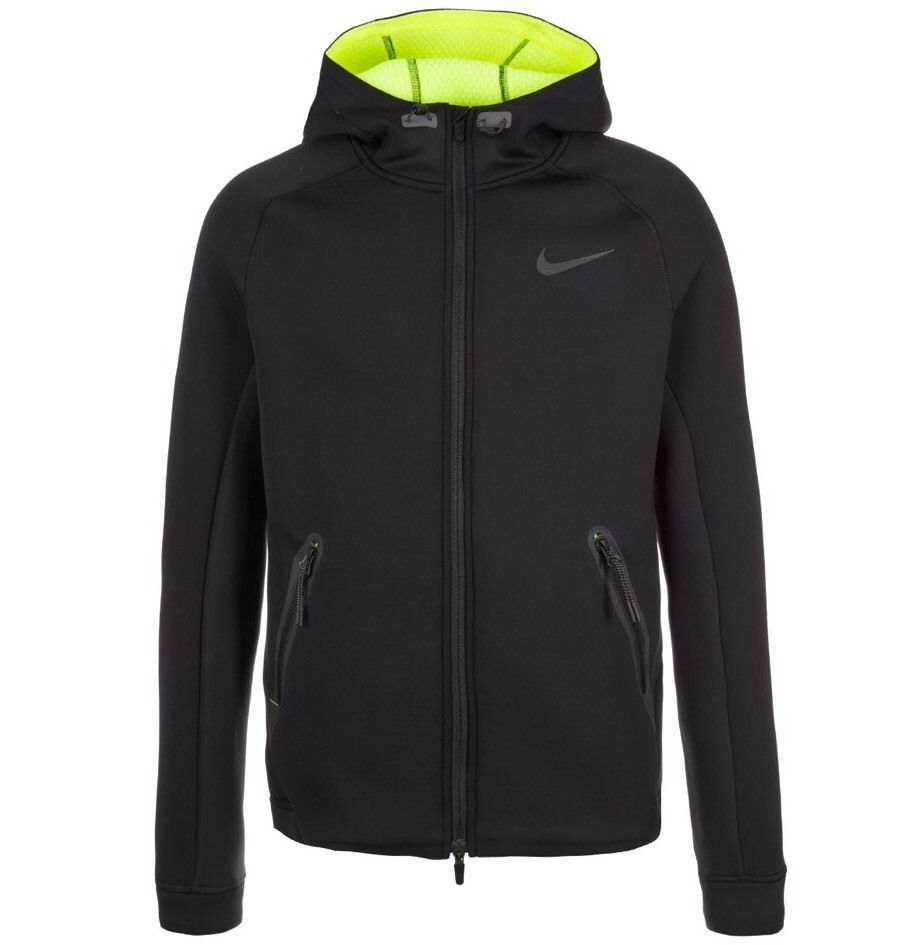7ca59df0f0 NIKE THERMA-SPHERE MAX TRAINING HOODIE JACKET 688475-011 BLACK/VOLT ...