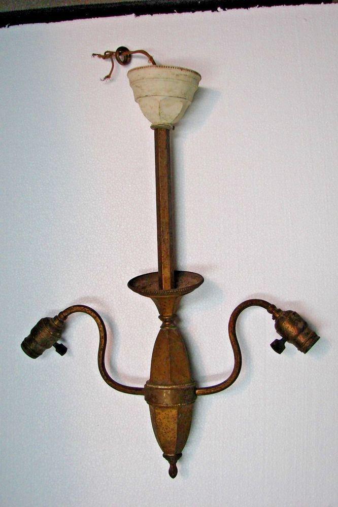 Antique Vintage Brass Hexagon Two Arm Ceiling 29 99light Fixture Weber Sockets Parts Lamp Parts Antique Lighting Antiques
