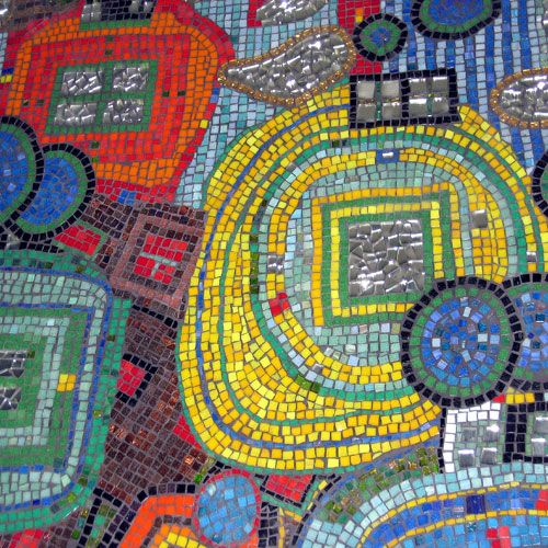 hundertwasser inspired  William Ellis School, North London 2005  4ft x 4ft wall panel 10 students aged 12-14